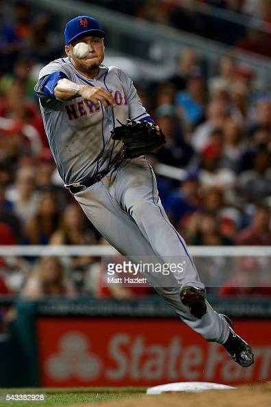 Wilmer Flores of the New York Mets makes a throw to first base against the Washington Nationals at Nationals Park on June 27 2016 in Washington DC