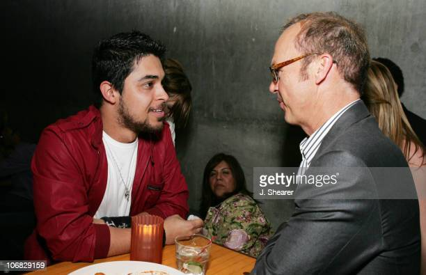 Wilmer Valderrama and Michael Keaton during Ace of Hearts' First Annual Hollywood Dog Bowl Hosted by Mandy Moore at Lucky Strike Lanes in Hollywood...