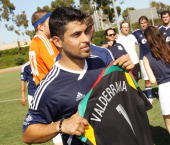 Wilmer Valderrama attends The Jonas Brothers host a charity soccer match held at StubHub Center track and field on August 17 2013 in Los Angeles...
