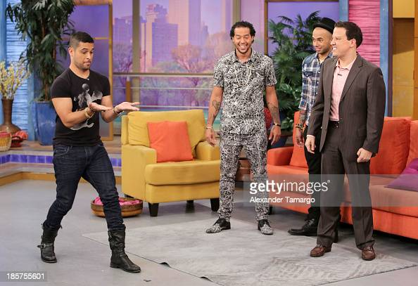 Wilmer Valderrama Sky Blu Sensato and Raul Gonzalez are seen on the set of Despierta America at Univision Headquarters on October 24 2013 in Miami...