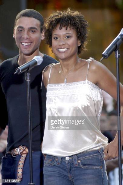 Wilsom Jermaine Heredia and Tracie Thoms during The Cast of the Movie 'Rent' Performs on the 'Today Show' 2005 Summer Concert Series at Rockefeller...