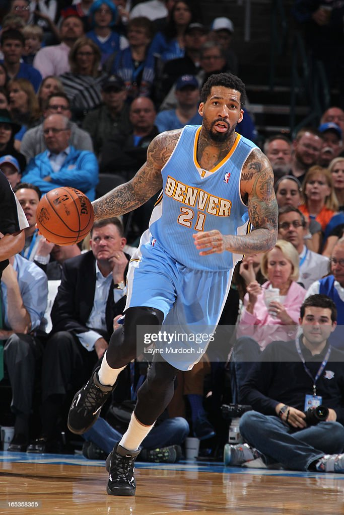 Wilson Chandler #21 of the Denver Nuggets brings the ball up court against the Oklahoma City Thunder on March 19, 2013 at the Chesapeake Energy Arena in Oklahoma City, Oklahoma.