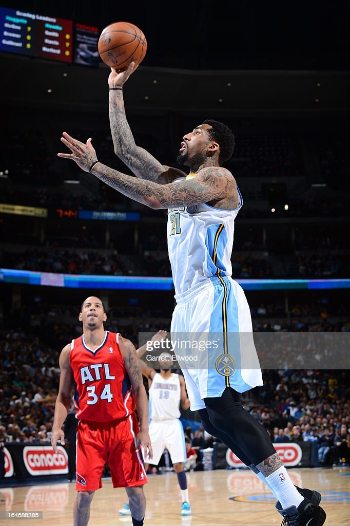 Wilson Chandler #21 of the Denver Nuggets drives to the basket against the Atlanta Hawks on March 4, 2013 at the Pepsi Center in Denver, Colorado.