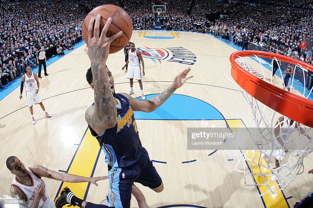<a gi-track='captionPersonalityLinkClicked' href=/galleries/search?phrase=Wilson+Chandler&family=editorial&specificpeople=809324 ng-click='$event.stopPropagation()'>Wilson Chandler</a> #21 of the Denver Nuggets dunks against the Oklahoma City Thunder in Game Five of the Western Conference Quarterfinals on April 27, 2011 at the Oklahoma City Arena in Oklahoma City, Oklahoma.