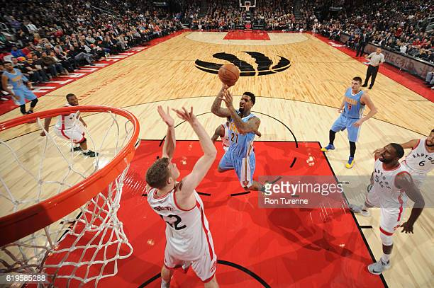 Wilson Chandler of the Denver Nuggets goes up for a shot during a game against the Toronto Raptors on October 31 2016 at the Air Canada Centre in...