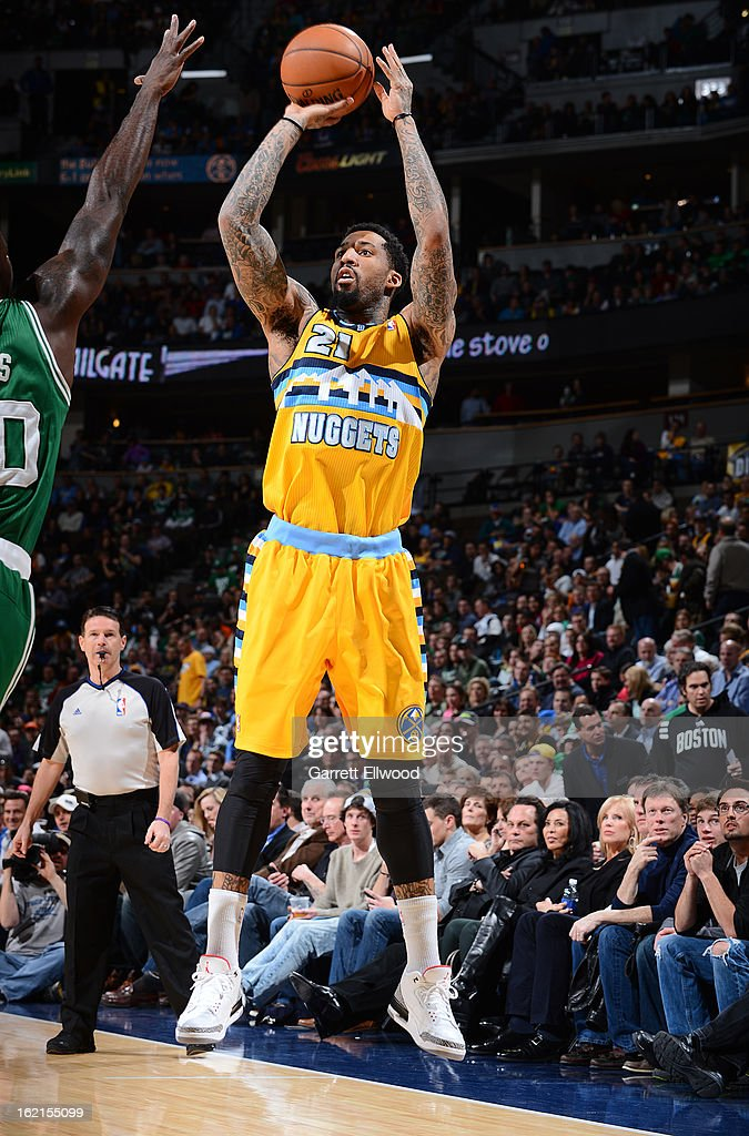 Wilson Chandler #21 of the Denver Nuggets goes up for the shot against the Boston Celtics on February 19, 2013 at the Pepsi Center in Denver, Colorado.