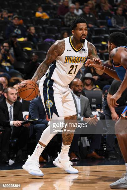 Wilson Chandler of the Denver Nuggets handles the ball against the Oklahoma City Thunder on October 10 2017 at the Pepsi Center in Denver Colorado...