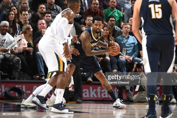 Wilson Chandler of the Denver Nuggets handles the ball against the Utah Jazz during the game on October 18 2017 at vivintSmartHome Arena in Salt Lake...
