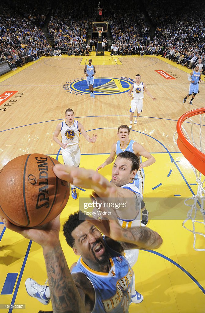 Wilson Chandler #21 of the Denver Nuggets in a play against the Golden State Warriors on January 15, 2014 at Oracle Arena in Oakland, California.