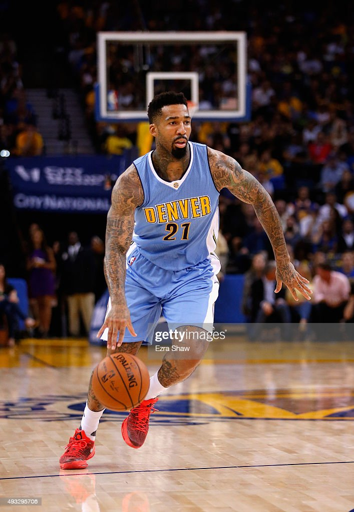 Wilson Chandler of the Denver Nuggets in action against the Golden State Warriors at ORACLE Arena on October 13 2015 in Oakland California NOTE TO...