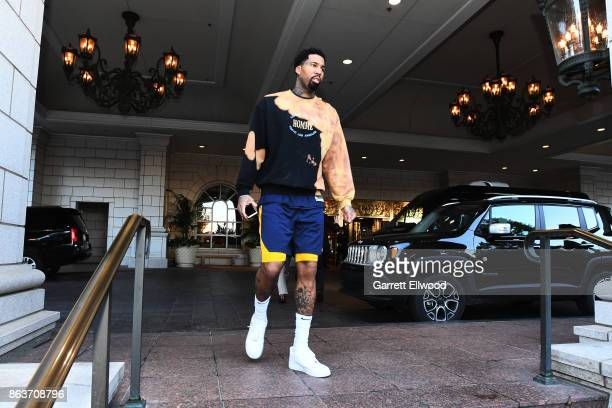 Wilson Chandler of the Denver Nuggets leaves the hotel for practice prior to the game against the Utah Jazz on October 18 2017 at the Vivint Smart...