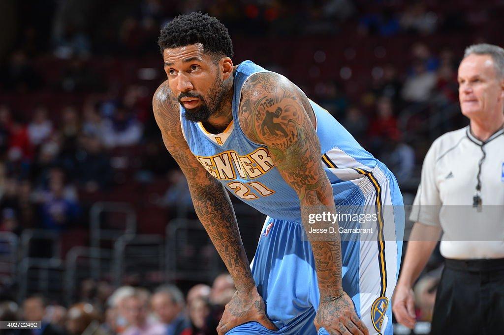 Wilson Chandler of the Denver Nuggets looks on against the Philadelphia 76ers at Wells Fargo Center on February 3 2015 in Philadelphia Pennsylvania...