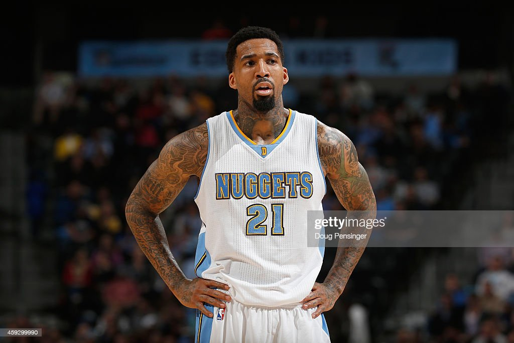 Wilson Chandler of the Denver Nuggets looks on against the Oklahoma City Thunder at Pepsi Center on November 19 2014 in Denver Colorado The Nuggets...
