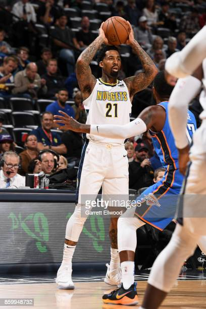Wilson Chandler of the Denver Nuggets passes the ball against the Oklahoma City Thunder on October 10 2017 at the Pepsi Center in Denver Colorado...