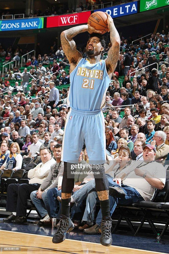 Wilson Chandler #21 of the Denver Nuggets shoots against the Utah Jazz at EnergySolutions Arena on January 13, 2014 in Salt Lake City, Utah.
