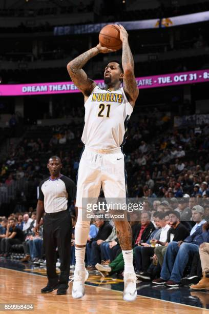 Wilson Chandler of the Denver Nuggets shoots the ball against the Oklahoma City Thunder on October 10 2017 at the Pepsi Center in Denver Colorado...