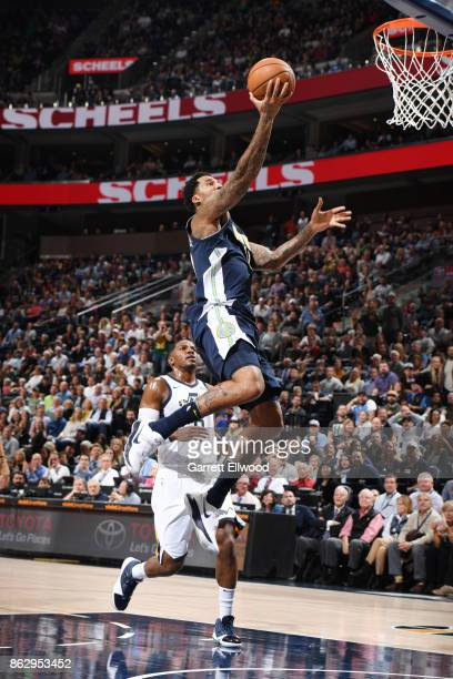Wilson Chandler of the Denver Nuggets shoots the ball against the Utah Jazz during the game on October 18 2017 at vivintSmartHome Arena in Salt Lake...