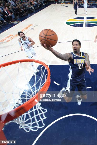 Wilson Chandler of the Denver Nuggets shoots the ball during the season game against the Utah Jazz on October 18 2017 at Vivint Smart Home Arena in...