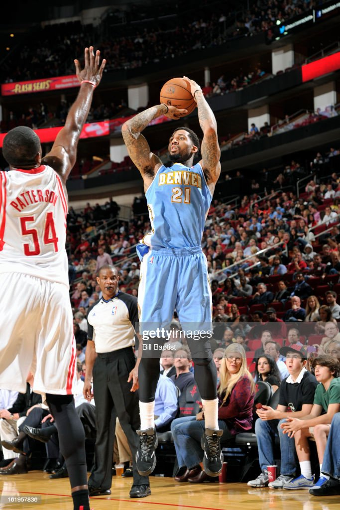 Wilson Chandler #21 of the Denver Nuggets takes a shot against the Houston Rockets on January 23, 2013 at the Toyota Center in Houston, Texas.
