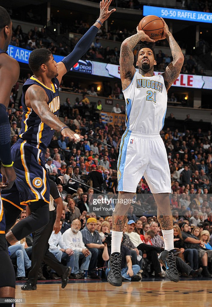 Wilson Chandler of the Denver Nuggets taking a shot during a game against the Indiana Pacers on January 25 2014 at the Pepsi Center in Denver...