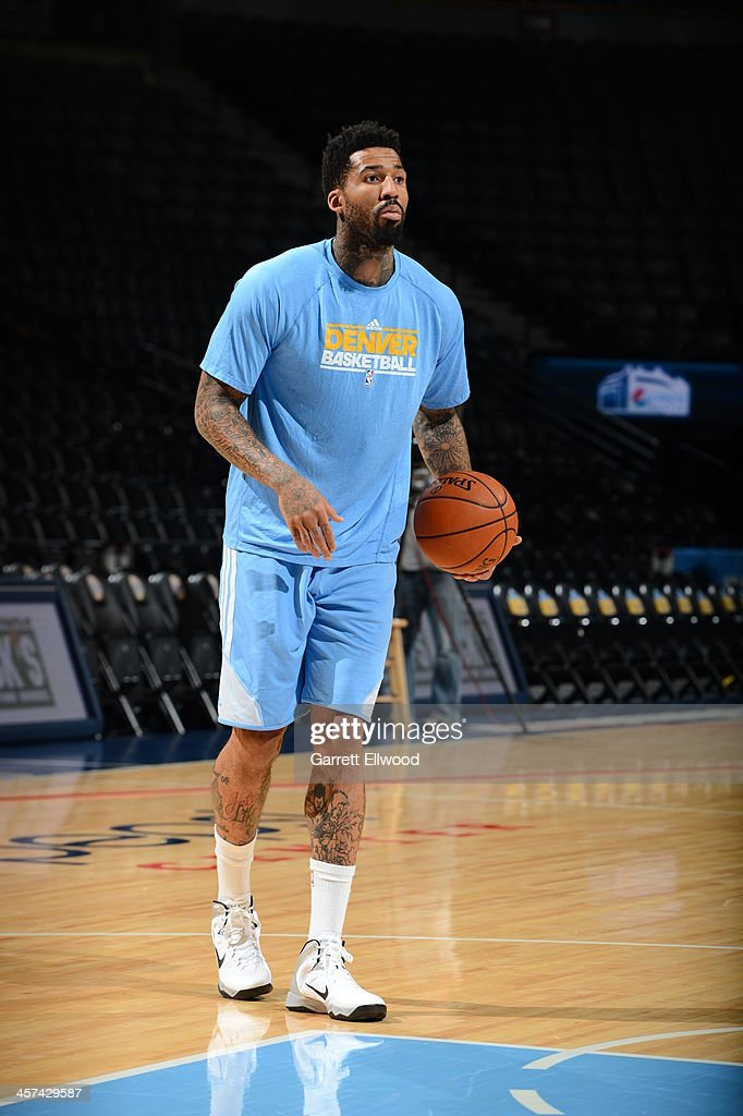 <a gi-track='captionPersonalityLinkClicked' href=/galleries/search?phrase=Wilson+Chandler&family=editorial&specificpeople=809324 ng-click='$event.stopPropagation()'>Wilson Chandler</a> #21 of the Denver Nuggets warms up before the game against the Los Angeles Lakers on November 13, 2013 at the Pepsi Center in Denver, Colorado.