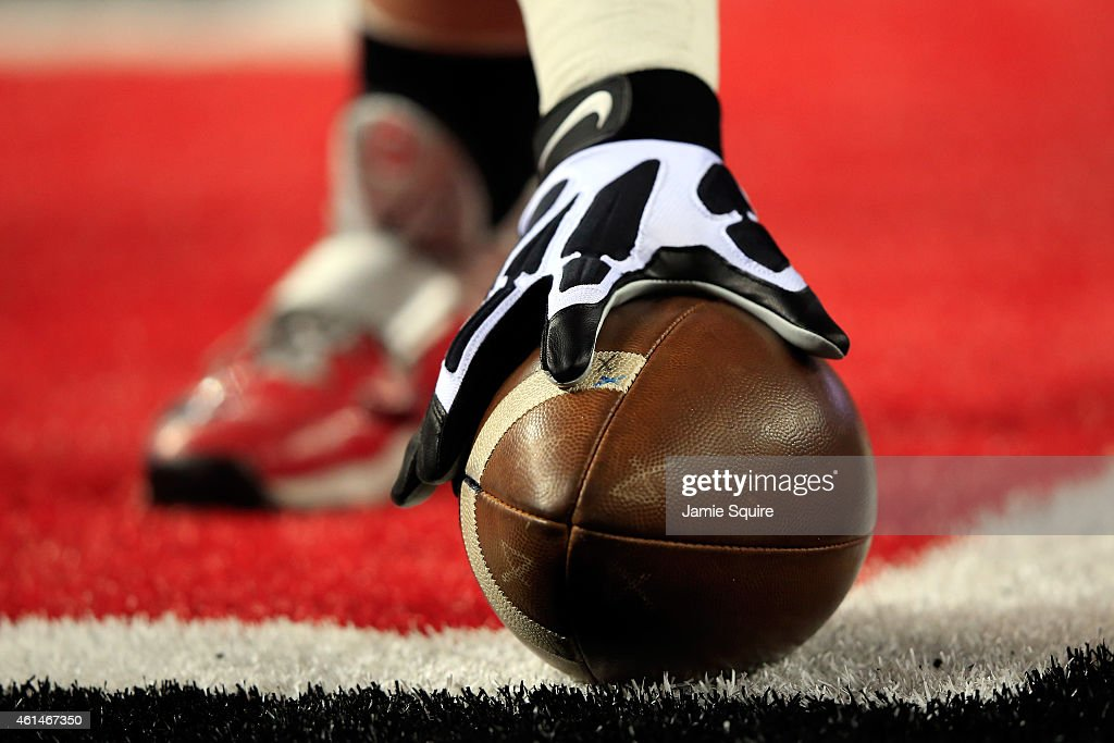 Wilson footballs are seen on the field before the College Football Playoff National Championship Game at ATT Stadium on January 12 2015 in Arlington...