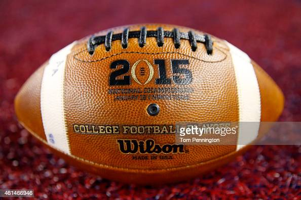 Wilson footballs are seen on the field during the College Football Playoff National Championship Game at ATT Stadium on January 12 2015 in Arlington...