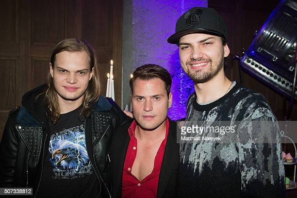 Wilson Gonzalez Ochsenknecht Rocco Stark and Jimi Blue Ochsenknecht attend the EIS party at Soho house on January 28 2016 in Berlin Germany