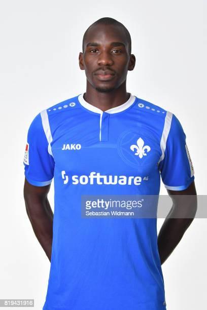 Wilson Kamavuaka of SV Darmstadt 98 poses during the team presentation at MerckStadion am Boellenfalltor on July 20 2017 in Darmstadt Germany