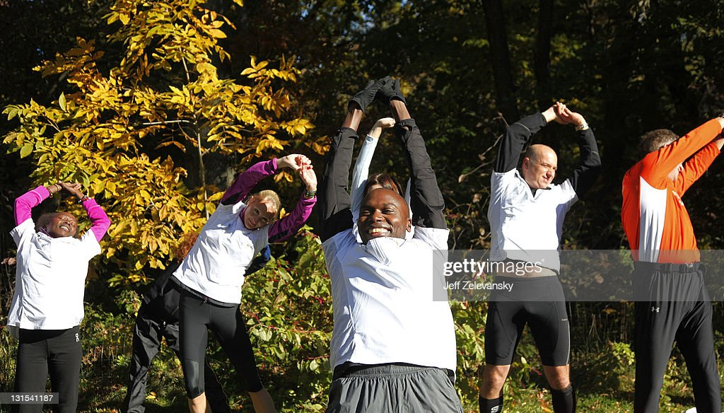 <a gi-track='captionPersonalityLinkClicked' href=/galleries/search?phrase=Wilson+Kipketer&family=editorial&specificpeople=162807 ng-click='$event.stopPropagation()'>Wilson Kipketer</a>, triple 800m world Champion, Tegla Loroupe (L) , two-time New York City Marathon winner and <a gi-track='captionPersonalityLinkClicked' href=/galleries/search?phrase=Paula+Radcliffe&family=editorial&specificpeople=202257 ng-click='$event.stopPropagation()'>Paula Radcliffe</a> (2nd, L) current marathon World Record holder and three-time winner of the New York City Marathon lead a training session for the 20 runners who will compete in the ING New York City Marathon on behalf of the Peace and Sport in Central Park on November 5, 2011 in New York City.