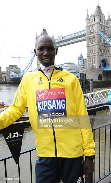 Wilson Kipsang attends a photocall ahead of taking part in the Virgin London Marathon at The Tower Hotel on April 17 2013 in London England