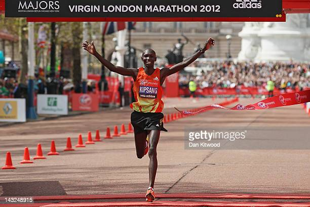 Wilson Kipsang of Kenya celebrates winning the Mens Elite race during the Virgin London Marathon 2012 on April 22 2012 in London England