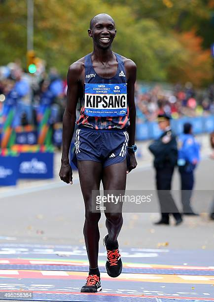 Wilson Kipsang of Kenya crosses the finish line in fourth place during the TCS New York City Marathon on November 1 2015 in New York City