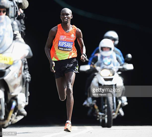 Wilson Kipsang of Kenya in action on his way to victory during the Virgin London Marathon 2012 on April 22 2012 in London England