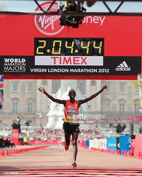 Wilson Kipsang of Kenyacelebrates winning the Mens Elite race during the Virgin London Marathon 2012 on April 22 2012 in London England