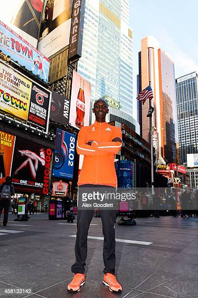 Wilson Kipsang poses for a picture at Times Square on October 30 2014 in New York City