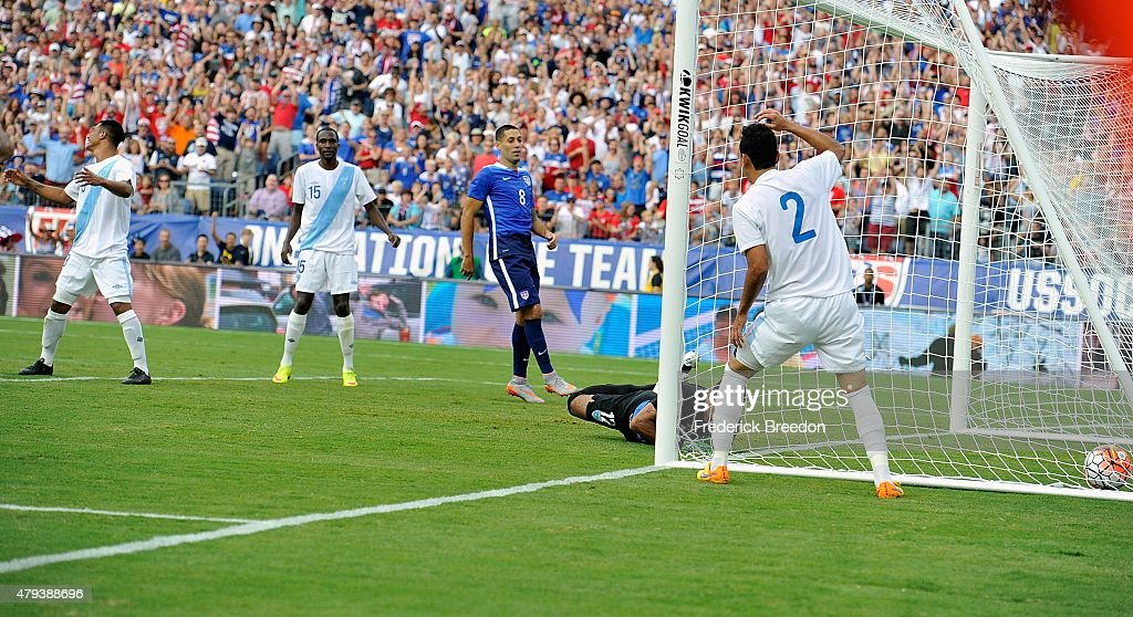 Wilson Lalin of Guatemala reacts after heading a ball into his own net during an international friendly soccer match between the USA and Guatemala at...