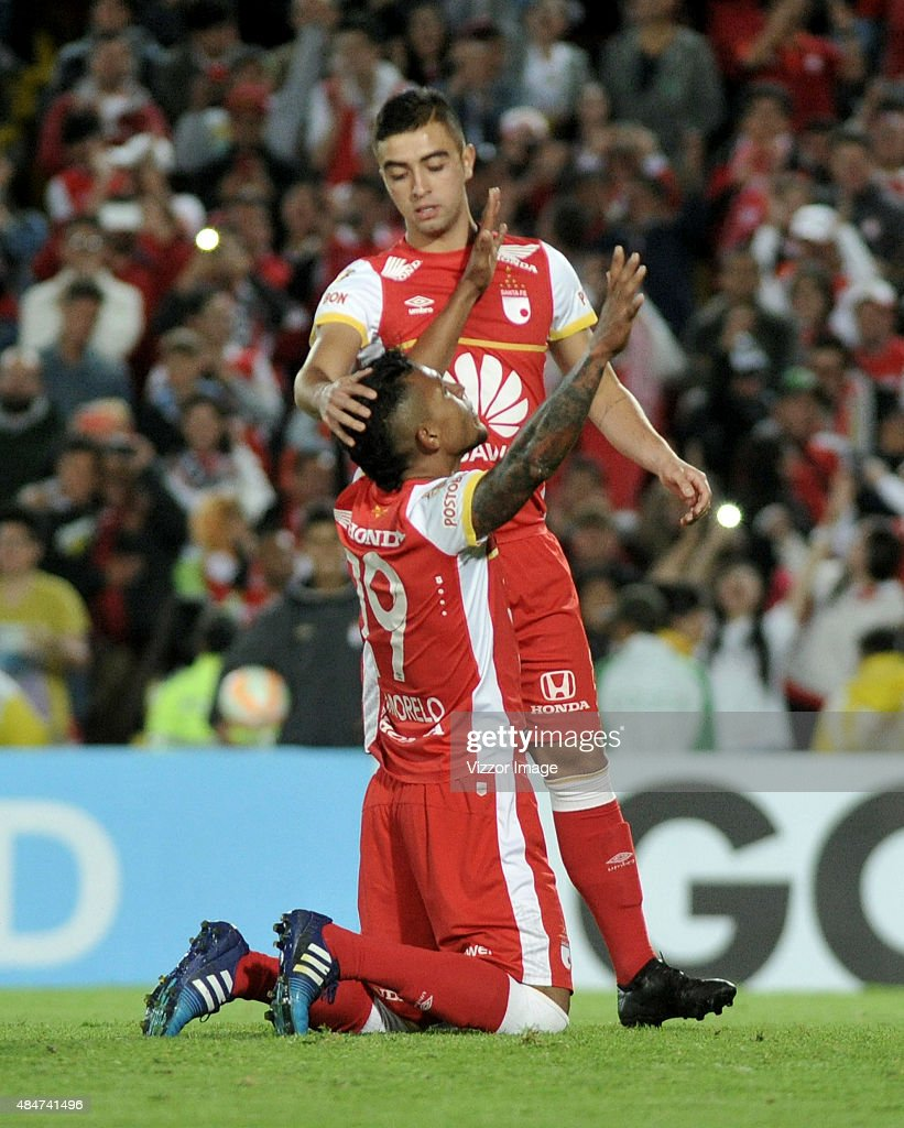 Wilson Morelo of Independiente Santa Fe celebrates after scoring during a match between Independiente Santa Fe v Liga de Loja as part of Copa...