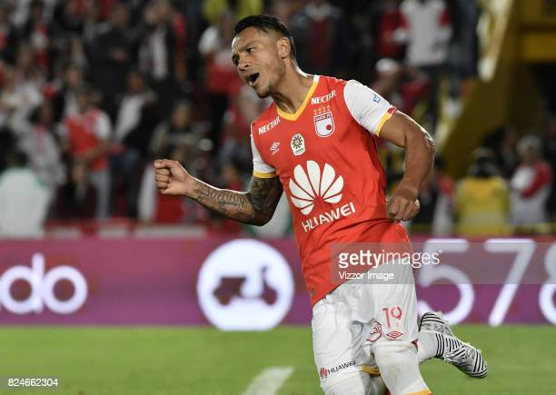 Wilson Morelo of Independiente Santa Fe celebrates after scoring the first goal of his team during a match between Independiente Santa Fe and Once...