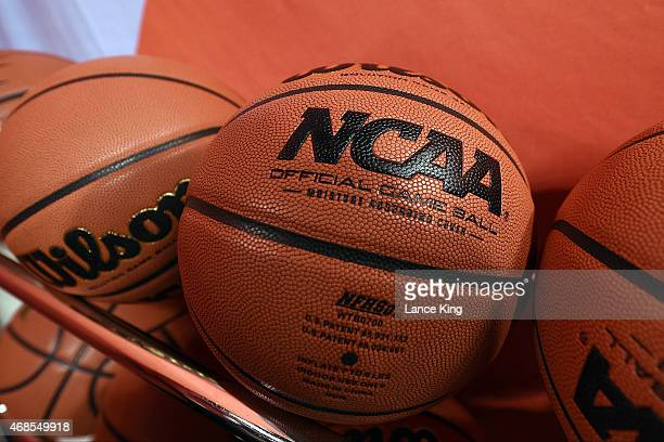Wilson NCAA basketballs are seen at Lucas Oil Stadium on April 3 2015 in Indianapolis Indiana