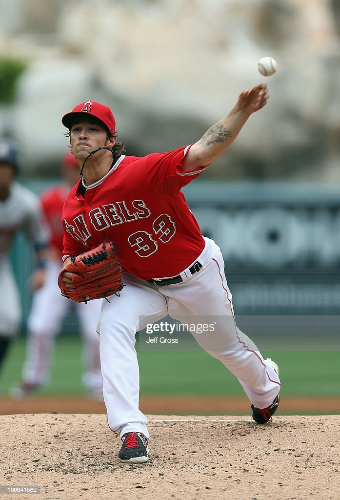 C.J. Wilson #33 of the Los Angeles Angels of Anaheim pitches against the Houston Astros in the second inning at Angel Stadium of Anaheim on April 14, 2013 in Anaheim, California.