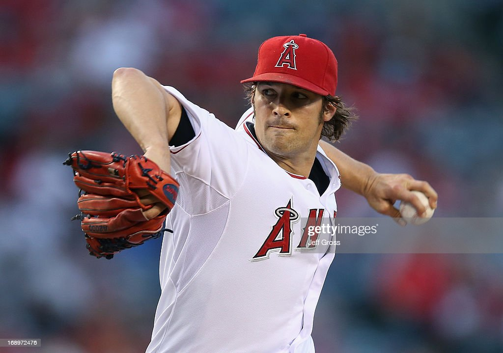 C.J. Wilson #33 of the Los Angeles Angels of Anaheim pitches against the Chicago White Sox in the first inning at Angel Stadium of Anaheim on May 17, 2013 in Anaheim, California.