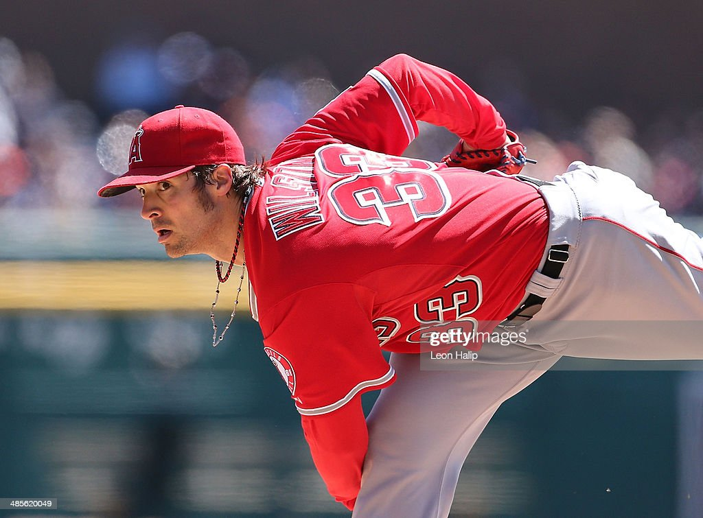 C. J. Wilson #33 of the Los Angeles Angels of Anaheim pitches in the first inning of the game against the Detroit Tigers at Comerica Park on April 19, 2014 in Detroit, Michigan.