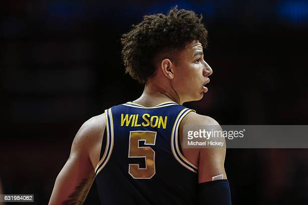 J Wilson of the Michigan Wolverines is seen during the game against the Illinois Fighting Illini at State Farm Center on January 11 2017 in Champaign...