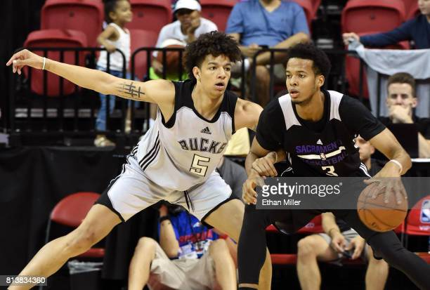 J Wilson of the Milwaukee Bucks guards Skal Labissiere of the Sacramento Kings during the 2017 Summer League at the Thomas Mack Center on July 12...