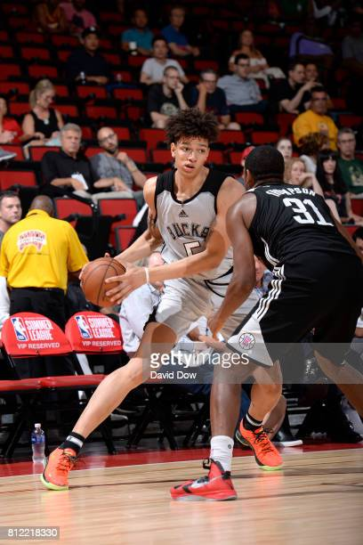 J Wilson of the Milwaukee Bucks handles the ball against the LA Clippers during the 2017 Las Vegas Summer League on July 10 2017 at the Cox Pavilion...