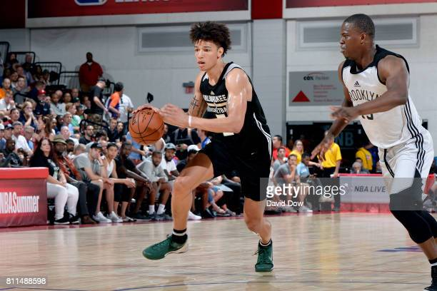 J Wilson of the Milwaukee Bucks handles the ball during the game against the Brooklyn Nets during the 2017 Las Vegas Summer League on July 9 2017 at...