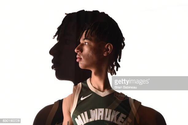 DJ Wilson of the Milwaukee Bucks poses for a photo during the 2017 NBA Rookie Photo Shoot at MSG training center on August 11 2017 in Tarrytown New...