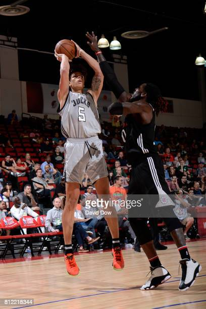 J Wilson of the Milwaukee Bucks shoots the ball against the LA Clippers during the 2017 Las Vegas Summer League on July 10 2017 at the Cox Pavilion...