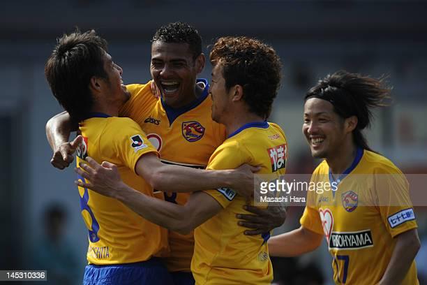 Wilson of Vegalta Sendai celebrates scoring their second goal during the JLeague match between Kawasaki Frontale and Vegalta Sendai at Todoroki...